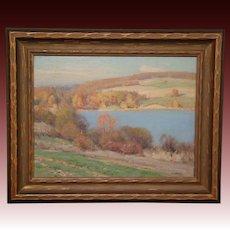 Frank A Barney American impressionist landscape oil painting New York artist