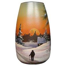Legras French enameled art glass vase winter landscape man on path