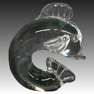 Steuben art glass crystal fish dolphin sculpture signed