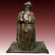 Austrian antique hidden erotic bronze sculpture Arabic man nude woman cat