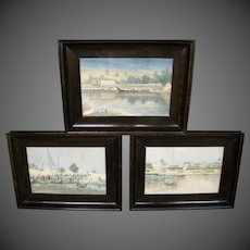 Antique orientalist set of three original watercolors signed A E Godber
