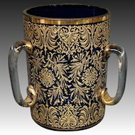 Moser antique gilded enamel cobalt three handled loving cup