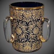 Moser antique gilded enamel cobalt three handled loving cup