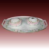 Bavarian hand painted pink orses dresser set tray jar hair receiver