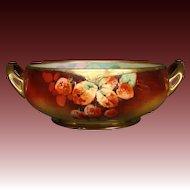 Julius Brauer Studios Pickard artist Max Bachmann hand painted strawberries handled bowl