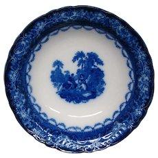 Flow Blue porcelain Watteau large round bowl