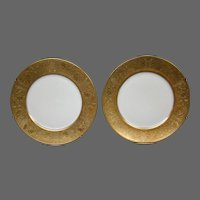 Wheeling Decorating Company pair gold encrusted service chargers plates Czechoslovakia