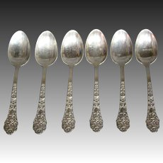 Gorham sterling silver Old Medici set of six demitasse spoons