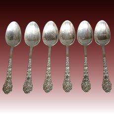 Gorham sterling silver Old Medici set of six demitasse spoons