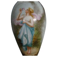 Antique sevres hand painted woman and rose small boudoir lamp