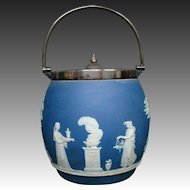 Wedgwood blue jasperware classic figures biscuit jar