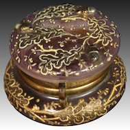 Moser art glass enameled gilded pink dresser trinket box applied acorns