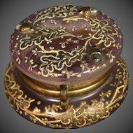 Moser art glass enameled gilded pink dresser trinket box applied acorns