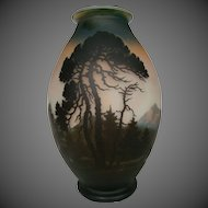 Muller Freres Fres French cameo glass scenic landscape mountain vase