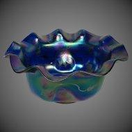 Loetz iridescent art glass silver overlay brides bowl