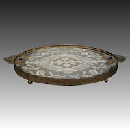 Jeweled vanity dresser tray with lace insert