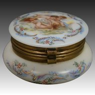 Antique enameled glass dresser trinket box cupid children playing