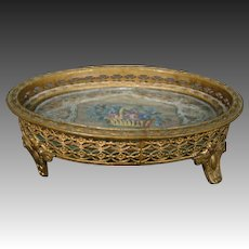 Antique ormolu roses needlepoint footed pin dresser tray