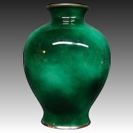Unusual Japanese cloisonne green sponge vase