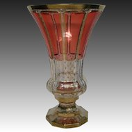 Moser cranberry ruby cabochon panel gold large art glass vase