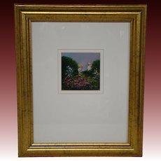 Sallie Carlson small impressionist flower garden scene acrylic oil painting