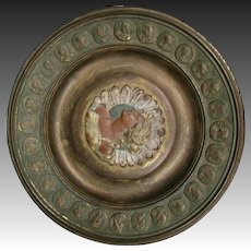 Bronze art nouveau female woman portrait plate plaque