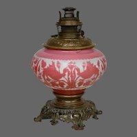 Mount Washington cameo art glass lamp base birds Bradley & Hubbard