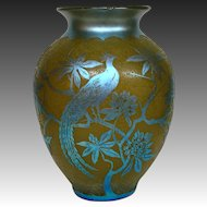 Steuben blue aurene acid cut back Birds #2 yellow art glass vase lamp