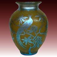 Steuben blue aurene acid cut back Birds #2 yellow art glass vase lamp