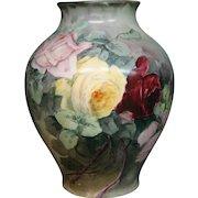 American Belleek hand painted roses large vase