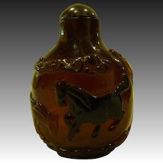 Carved agate or stone snuff bottle four horses and trees