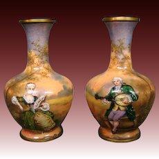 French enamel pair miniature vases artist signed Vibert courting scenes