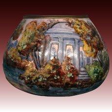 French enamel artist signed Gamet scenic vase figures at lake