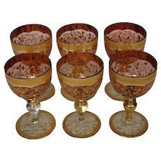 Moser antique cranberry art glass gold gilt enameled set of wine goblets
