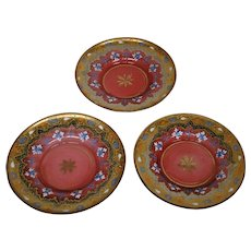 Moser antique cranberry art glass set three enameled gilded plates - Red Tag Sale Item
