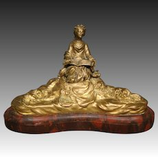 Antique gilded French bronze sculpture of woman reading to cupids rouge marble base