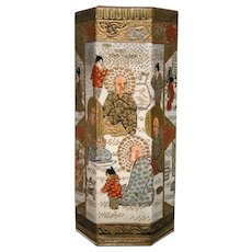 Antique Satsuma pottery hexagonal miniature vase signed