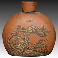 Terra cotta pottery oriental signed snuff bottle landscape