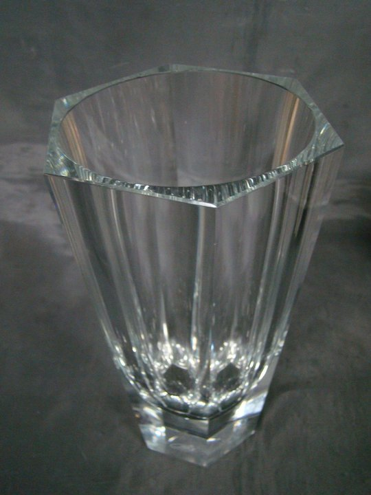 Moser Bohemian Crystal Faceted Tall Vase Signed Finer Choice