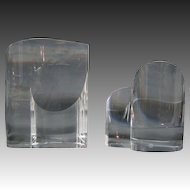 Steuben crystal art glass pair of hearts up and down signed