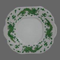 Hammersley bone china green dragon 4602 handled cake plate T Goode London