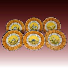 Rampini Radda Italy majolica pottery set large animal plates