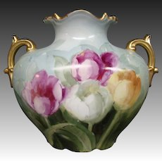 JPL Limoges hand painted tulips pillow form handled vase Jean Pouyat