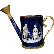 Antique French enamel miniature watering can flowering courting scenes