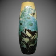 Galle French cameo glass blue floral fire polished art glass vase