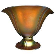 Steuben gold aurene footed helmet vase form 7307