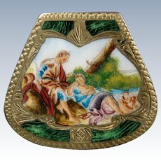 Italian enamel and silver gilt pill box courting scene marked 800