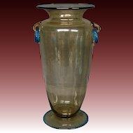 Steuben topaz and celeste blue ring handle tall art glass vase