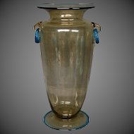 Steuben topaz and celeste blue ring handle tall art glass vase