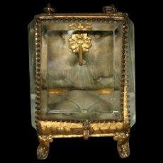 Antique French ormolu pocket watch casket beveled glass original lining - Red Tag Sale Item